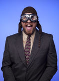 Businessman flight helmet goggles funny expression Royalty Free Stock Photo