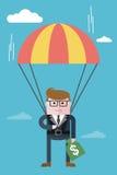 Businessman_flight_on_a_parachute_with_money 库存照片