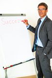 Businessman with Flipchart Royalty Free Stock Image