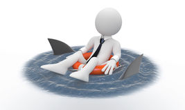 Businessman floating in a life preserver with shar. Ks around Stock Images