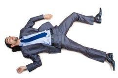 Businessman on  floor isolated on white Stock Photos