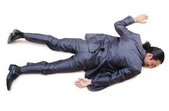 Businessman on  floor isolated on white Royalty Free Stock Image