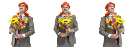 The businessman and flower. Collage Royalty Free Stock Photos