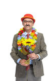 The businessman and flower Royalty Free Stock Photos