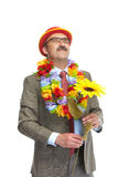 The businessman and flower Royalty Free Stock Photography