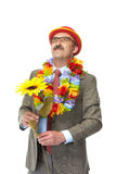The businessman and flower Stock Photo