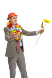 The businessman and flower Stock Photos