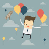 Businessman fly with balloon to success way Stock Photos