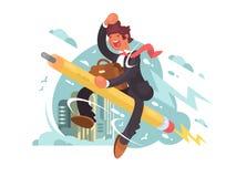 Businessman fly on pencil. Creative aspiration and inspiration. Vector illustration royalty free illustration