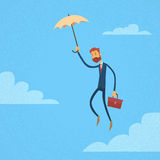 Businessman Fly Umbrella Hold Briefcase Royalty Free Stock Photo