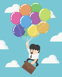 Businessman fly up away high on balloon. Young successful businessman flies on colorful balloon eps.10 Stock Images