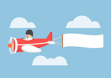 Businessman flying by the airplane with banner Royalty Free Stock Image