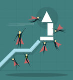 Businessman flying with arrow and trying to improve achievement. Illustration of businessman flying with arrow and trying to improve achievement graph Stock Images