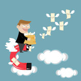 Businessman flying attracts money with magnet. Businessman cash concept dollar magnet Royalty Free Stock Image