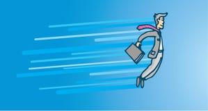 Businessman flying in big career impulse. Cartoon illustration of businessman flying in big fast career promotion impulse Royalty Free Stock Photos