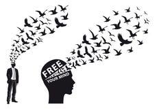 Businessman with flying birds, vector. Businessman silhouette with flying birds, vector illustration vector illustration