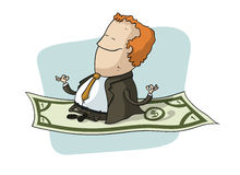 Businessman Flying on Dollar Royalty Free Stock Photography