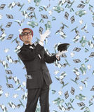 Businessman and flying dollar. Banknotes against blue sky Stock Image