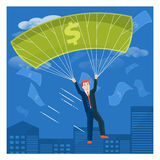 Businessman flying with dollar parachute over the city. Business Royalty Free Stock Images
