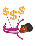 Businessman flying with dollar signs. Royalty Free Stock Photography