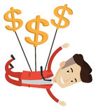 Businessman flying with dollar signs. Royalty Free Stock Image