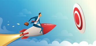 Businessman flying forward with a rocket engine to big target. Business vector concept illustration. Businessman flying forward with a rocket engine to big vector illustration