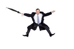 Businessman flying happy Royalty Free Stock Photography