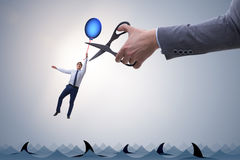 The businessman flying holding balloon Stock Photography