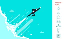 Businessman is flying like superman  up in the. Cosmos. Icons set. Start up.  Eps 10 Royalty Free Stock Photos