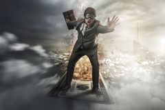 Free Businessman Flying On Top Of Money Royalty Free Stock Image - 140410616