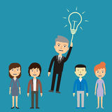Businessman flying out from the crowd by light bulb of idea Stock Photography