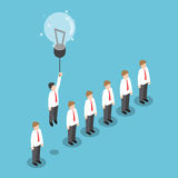 Businessman flying out from the crowd by light bulb of idea. Isometric businessman flying out from the crowd by light bulb of idea, VECTOR, EPS10 vector illustration