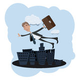 Businessman Flying Over The City Stock Image