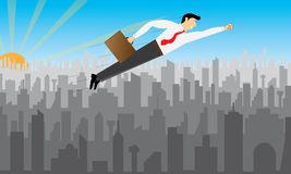 Businessman an flying over the city Royalty Free Stock Photos