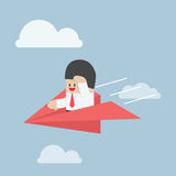 Businessman is flying on paper airplane and looking forward. VECTOR, EPS10 Stock Photography
