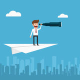 Businessman flying on paper plane using telescope looking for success, opportunities, future business trends. Vision concept. Royalty Free Stock Image