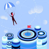 Businessman flying parachute to the aim. Golden parachute concept idea. Businessman navigating parachute to the aim. Concept of achievement, profit and success Stock Photography