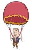 Businessman - Flying a parachute Stock Photo