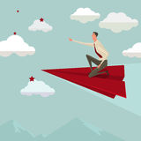 Businessman flying on a red paper airplane. vector illustration