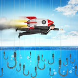Businessman flying with rocket Stock Image