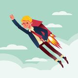 Businessman flying with rocket backpack illustration Stock Photography