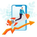 Businessman Flying on a Rocket. Business Mobile Startup, Career Boost, Web Technology Concept. Office Worker Character stock illustration