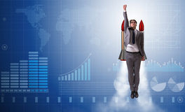 The businessman flying with rocket in funny business concept Royalty Free Stock Image