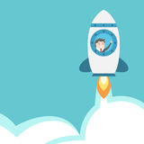 Businessman flying in rocket. Businessman with idea flying high in space rocket on blue sky background with vapour and clouds. Innovation and start concept. Flat Stock Photos
