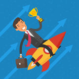 Businessman flying on rocket and keeps cup Royalty Free Stock Image