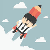 Businessman flying with a rocket pencil Stock Photo