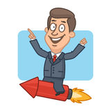 Businessman flying on rocket and smiling Stock Photography