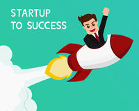 Businessman flying on a rocket startup to success Royalty Free Stock Images