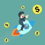 Businessman flying on rocket and success in work Stock Photo