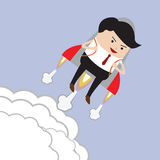 Businessman flying with rocket, Successful, Career growth concep Stock Image